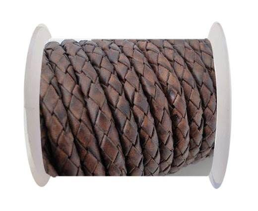 Round Braided Leather Cord SE/PB/17-Vintage Dark Brown-5mm