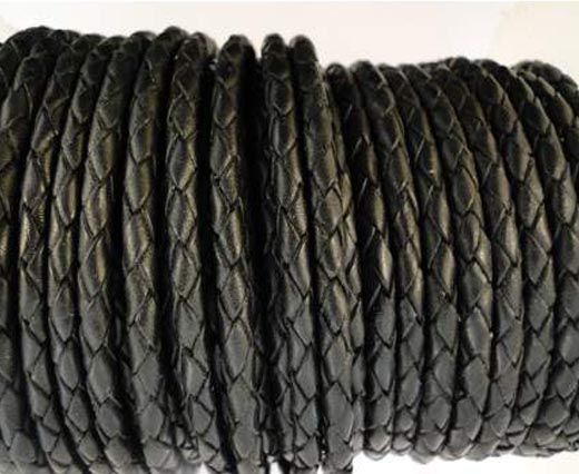 Buy Round Braided Leather Cord SE/B/02-Black - 3mm at wholesale price