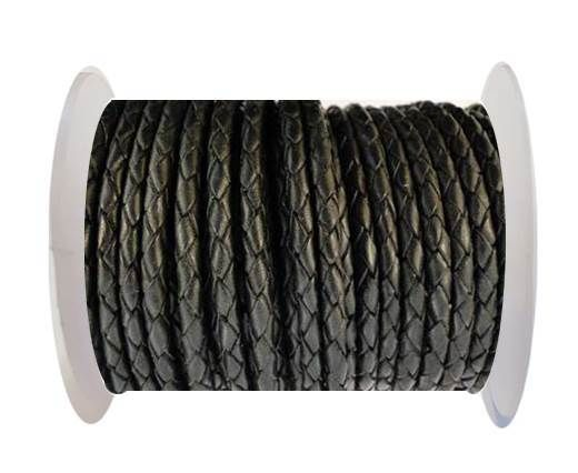 Round Braided Leather Cord SE/B/02-Black - 6mm