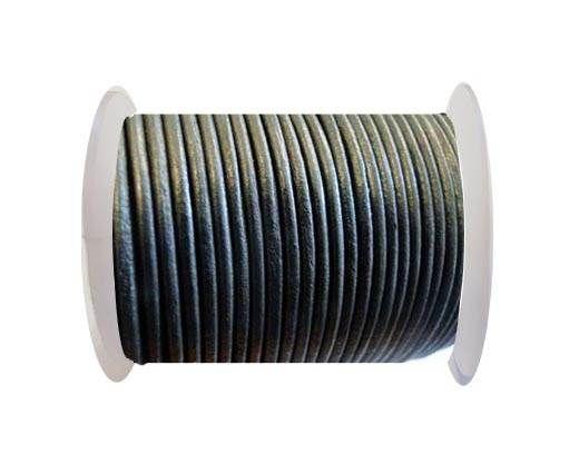 Round Leather Cord SE/R/Metallic Grey -3mm