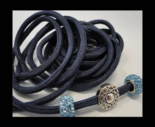 Real silk cords with inserts - 4 mm - Navy Blue