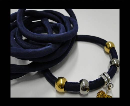 Real silk cords with inserts - 8 mm - Dark Blue