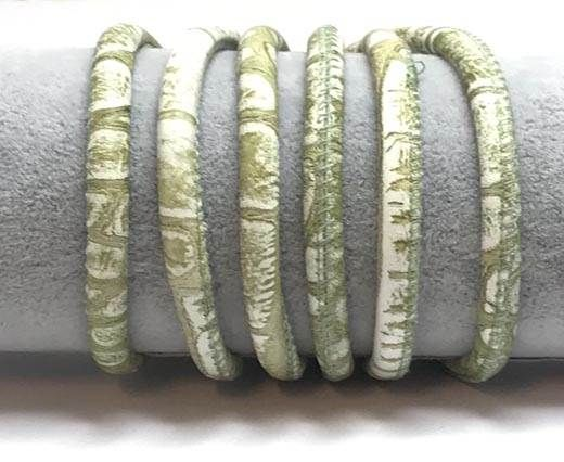 Real Round Nappa Leather cords 6mm-Snake Style-light green