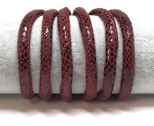 Real Round Nappa Leather cords 6mm-Snake Style- red wine