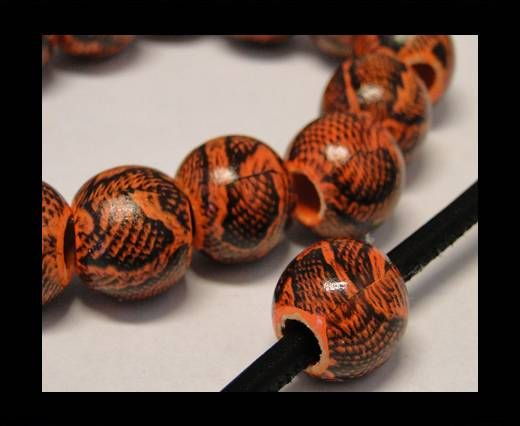 Snake Wooden Beads- Orange -16mm,Hole 6mm