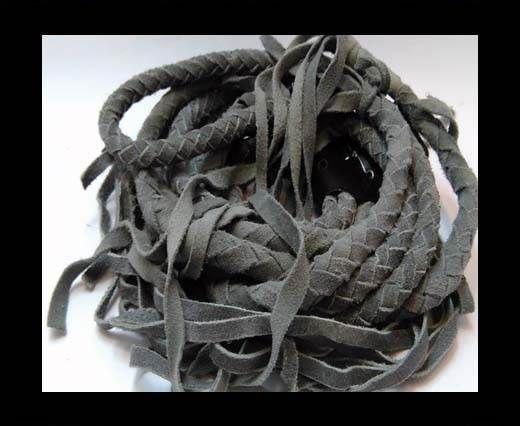 Suede Braided Belts with tassels - 8mm round -Light Grey