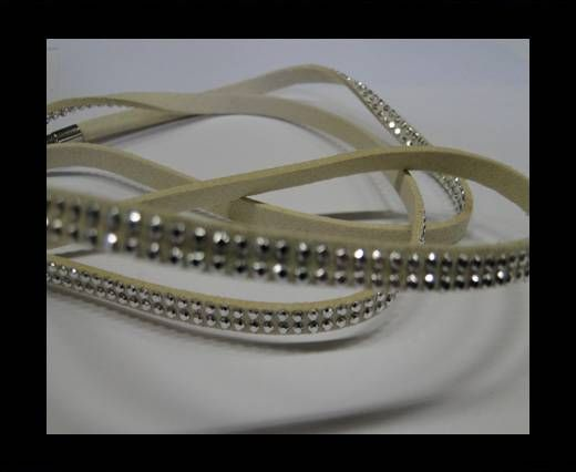 Suede Cord with studs-5mm-Silver-Beige