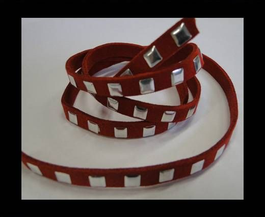 Suede Cord with Studs-7mm-Red
