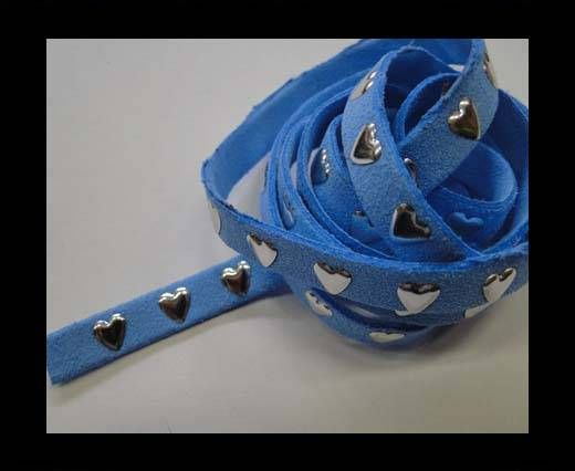 Suede Cords with Heart Studs 8mm-Blue