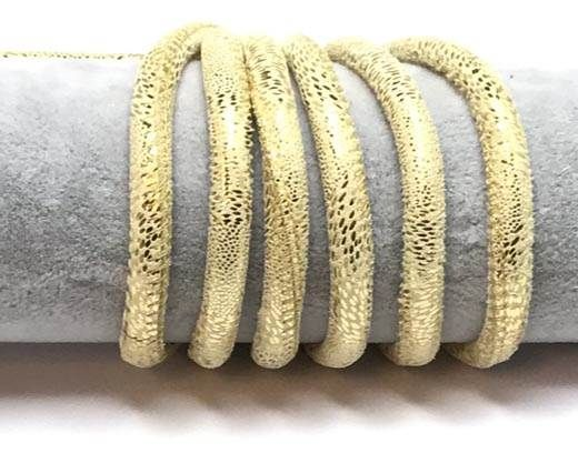Real Round Nappa Leather cords 6mm- Snake style-Suede gold