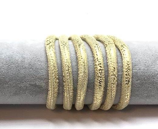 Real Round Nappa Leather cords 6mm- Snake style-Suede gold 2