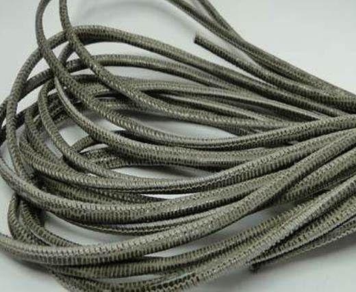 Round stitched nappa leather cord Lizard Prints-Taupe Lizard- 2.5