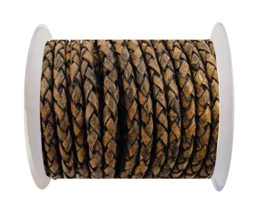 Round Braided Leather Cord SE/PB/13-Vintage Brown - 3mm