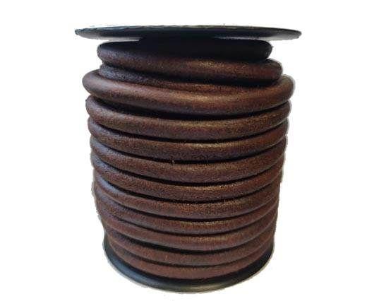 Round leather Cords - 6mm - Vintage Cognec