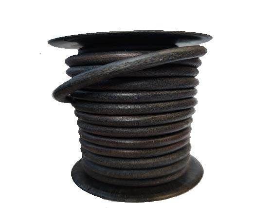 Round leather Cords - 6mm - Vintage Dark Blue