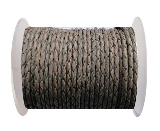 Round Braided Leather Cord SE/PB/Vintage Grey - 8mm