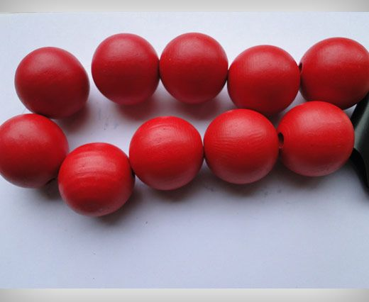 Wooden Beads-25mm-Red