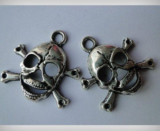Zamac Silver Plated Beads CA-3040