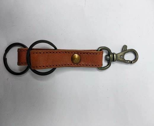 KeyChain-Plain-style1-DOUBLE FLAT LIGHT BROWN