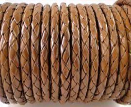 Round Braided Leather Cord SE/B/07-Medium Brown - 3mm