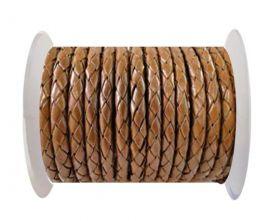 Round Braided Leather Cord SE/B/07-Medium Brown - 3mm