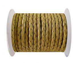 Round Braided Leather Cord SE/B/10-Lemon yellow - 3mm