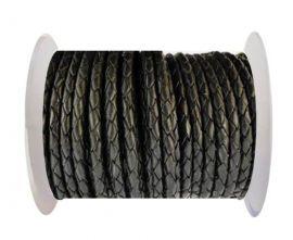 Round Braided Leather Cord SE/B/02-Black - 3mm