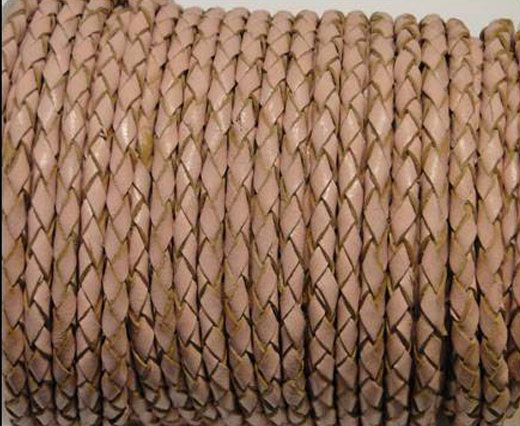 Round Braided Leather Cord SE/B/2006-Salmon - 3mm