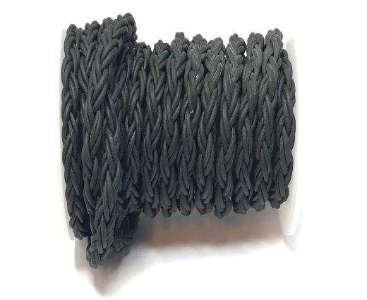 Round Bolo Twist Leather Cord-6mm- Black