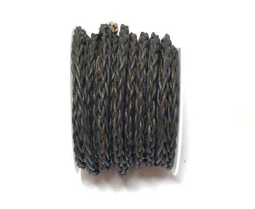 Round Bolo Twist Leather Cord-6mm- vintage grey 2
