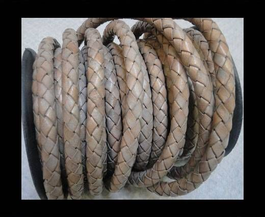 Braided Leather Cord 8 mm Light grey