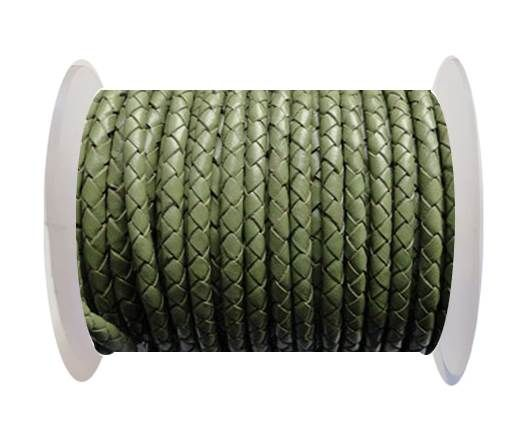 Round Braided Leather Cord SE/B/18-Asparagus - 3mm