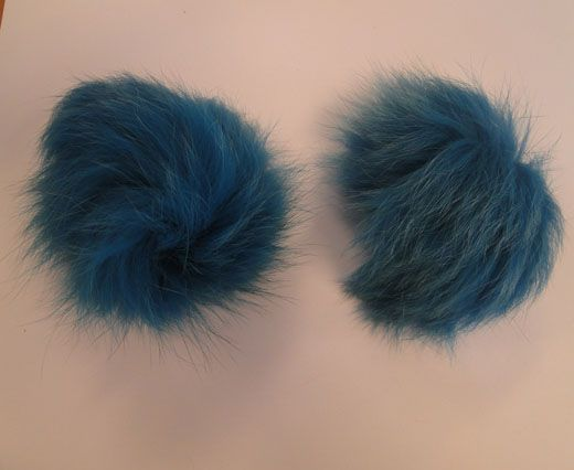 Fox Fur Pom Pom-Bermuda Blue-10cms