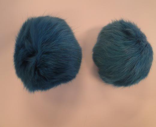 Rabbit Fur Pom Pom-Bermuda Blue-5cms