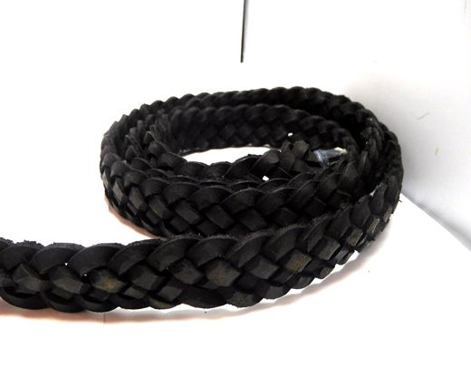 Flat braided cord - 20mm by 4mm - Vintage Black