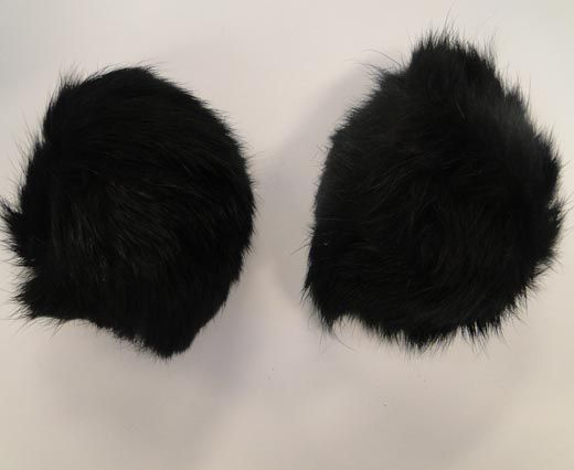 Rabbit Fur Pom Pom-Black-10cms
