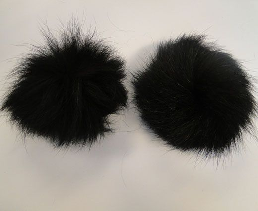 Fox Fur Pom Pom -Black-10cms