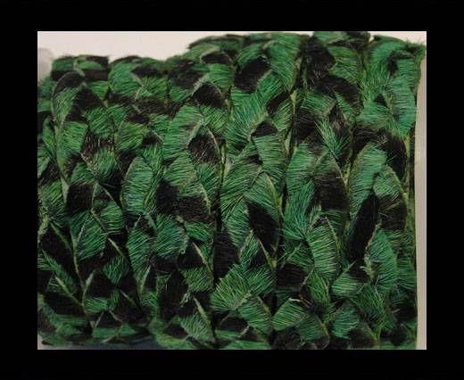 Braided Flat Hair-on Leather-Green Zebra Print
