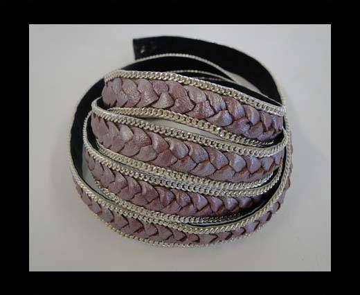 Braided Leather with silver chain--14mm-SE-M-15