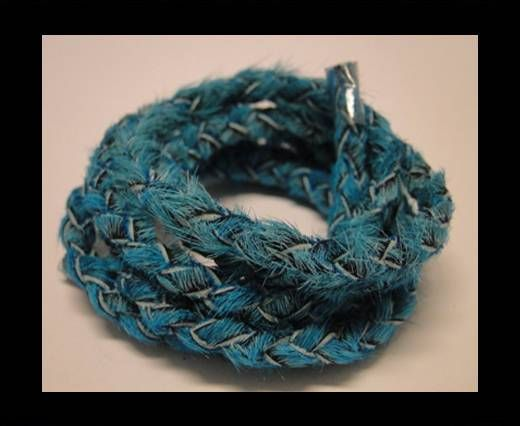 Braided Round Hair-on Leather-Turquoise-5mm