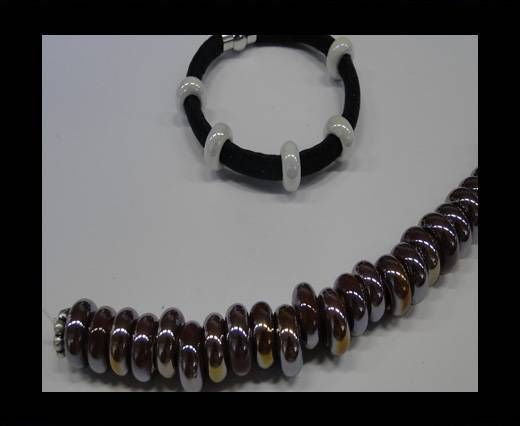 Ceramic beads with hole 6mm style 1-Maroon AB