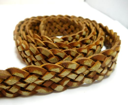 Flat braided cord - 20mm by 4mm - Vintage Cognac