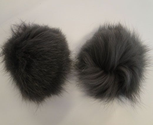 Fox Fur Pom Pom-Dark Grey-10cms