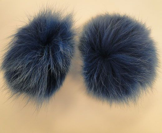 Fox Fur Pom Pom-Dark Blue-10cms