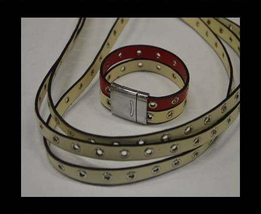 Eco Leather with Rings 10mm-Beige