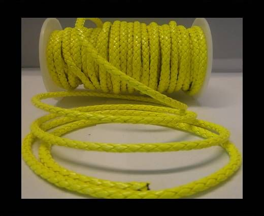 Eco Round Braided Leather - 5mm - Neon Yellow