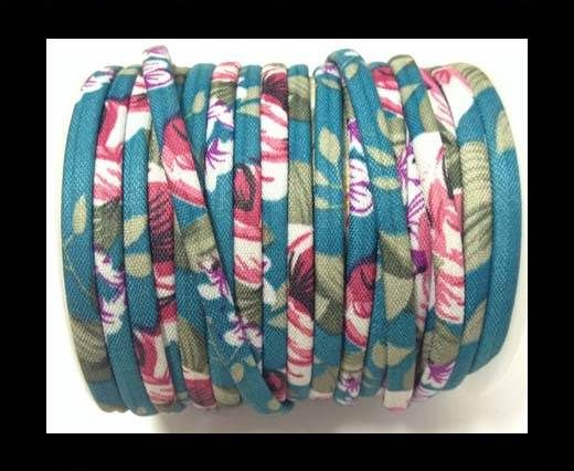 Fabric with flowers round-4mm-Turquoise