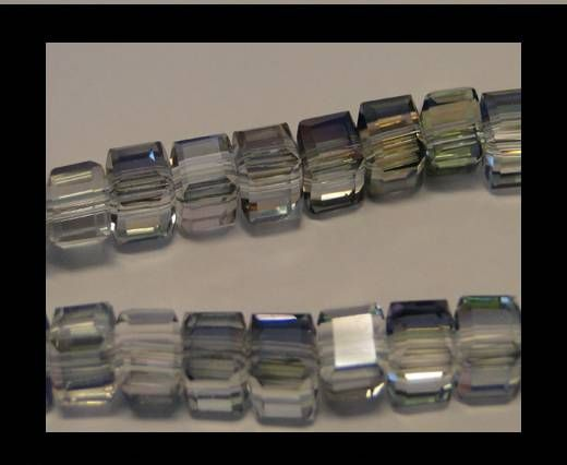 Faceted Cubes-6mm-Half Sea Green