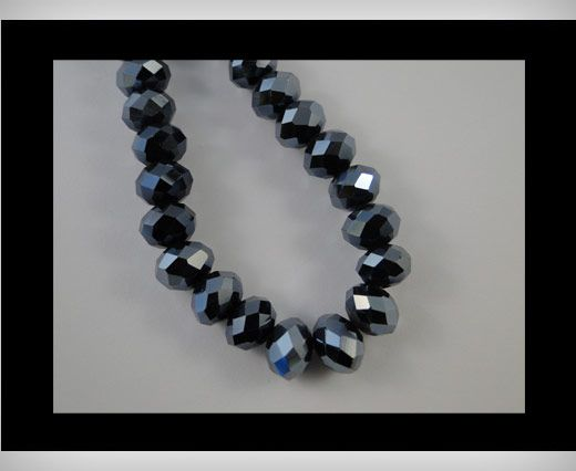 Faceted Glass Beads-12mm-Hematitie