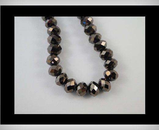 Faceted Glass Beads-12mm-Metallic Black
